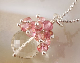 FINAL SALE - Lemon Quartz & Pink Mystic Quartz Drop Dangle Pendant Necklace