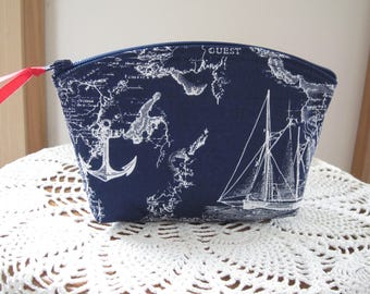 Nautical Sailing Essential Oil Case  Cosmetic Bag Clutch Zipper Purse  Made in the USA