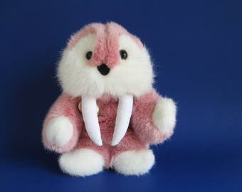 Vintage Walrus Stuffed Animal by Gund 1980s Toys Kids Toy Mauve Pink Plush Arctic Animal Long Tusks