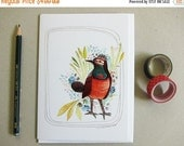ON SALE Greeting Card - Blank Card - Bird Notecard - Bird Stationery - Everyday Card - Bluethroat Bird