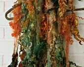 Teeswater Wool Fleece - Hand Dyed Curls - Fiber Art Locks - Green, Gold, Orange, Brown - Forest Witch
