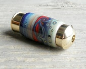 Handmade Art Glass Mini Kaleidoscope . Blue Purple Orange . Julie Nordine . CreditRiverArtGlass . 127