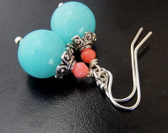 Coral, Blue Earrings, Turquoise Jade Dangles, Baby Blue Pastel Pink, Sterling Silver