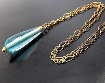 Blue Necklace, Simple Gold Drop Necklace, Sky Blue Glass Teardrop Pendant, Minimalist, Gold Filled Chain