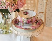 Vintage PINK ROSES Napco Teacup - Melon, Footed