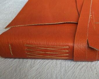 Handbound Leather Journal or Sketchbook - bright orange leather