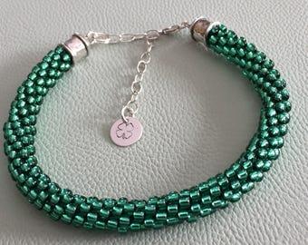 Emerald Green kumihimo glass bead braided Bracelet  Irish St. Patrick's Day Charm Sterling silver Adjustable