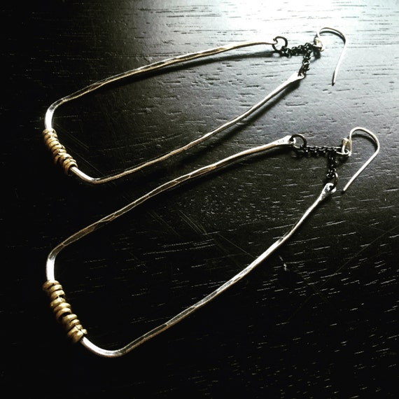 Forged Sterling Angular Earrings with Brass Hishi