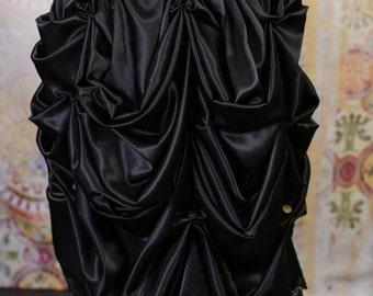Midnight Black Knee Length Bustle with Black Lace
