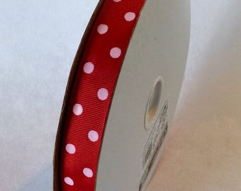 """Red Polka Dot 7/8"""" 100 Yards Offray Ribbon MADE IN AMERICA"""