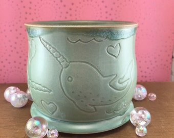 Handmade Narwhal Pot/Planter/Jar/Catchall/Cup