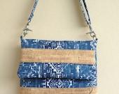 Blue Fold Over Bag, Cork Crossbody Bag, Blue and Cork Bag, Blue Purse, Cork Fold Over Bag, Fold Over Clutch, Cork Clutch, Zippered Crossbody