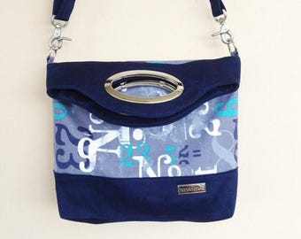 Navy Fold Over Tote, Fabric Fold Over Bag, Zippered Tote, Zippered Fold Over, Blue Crossbody Bag, Fabric Tote, Zippered Crossbody