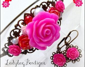 Floral Filigree Headband and Earrings Set ~ Flower Crown Tiara ~ Valentine Flowers ~ Antique Bronze Pink Red