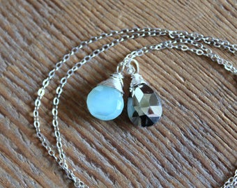 Aqua Blue Chalcedony and Pyrite Necklace