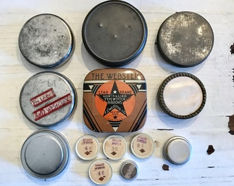 13 Vintage TINS Watch Parts Tin Assemblage Tywriter Ribbon Jewelry SUPPLIES Altered Art Assemblage Curiosity Cabinet Collectable Tin 56b5