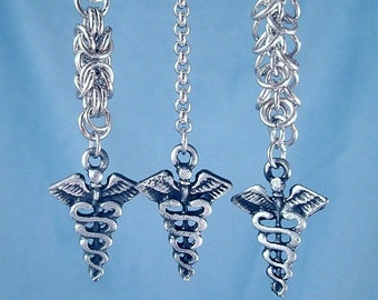 Caduceus Earrings Chainmail Medicine Healing Arts Symbol Military Medical Profession Stainless Steel Chainmaille Rings Charms Healer Gift