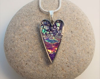 Iridescent Heart Shaped Pendant Textile and Resin