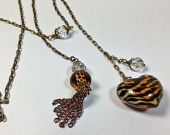 Lariat necklace Animal print heart antique brass crystal bead tie