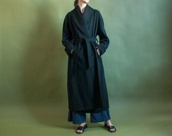 black wool wrap coat / oversized winter robe coat / black minimalist coat / s / 2091o / R3