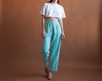 deadstock sky blue microsuede high waist trousers / pleated baggy pants / US 6 / 2433t / B15