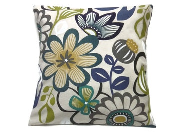 Decorative Pillow Cover Modern Funky Floral Design Teal Navy Blue Olive Green Taupe White Natural Same Fabric Front/Back Throw 18x18 inch x
