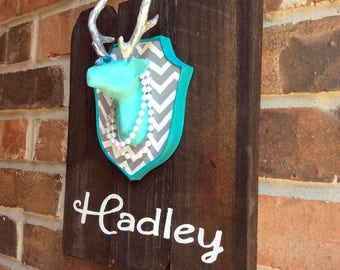 Miniature Taxidermy Deer, Name Sign for Kids, Pallet Artwork, Personalized Rustic Turquoise Fauxidermy, Woodland Baby Shower Gift Boy, Girl
