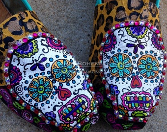 TOM Shoes Handpainted Sugar Skull for Women, Bride flat shoe Day of the Dead wedding, Unique College Student fashion, Fiesta Bridesmaid gift