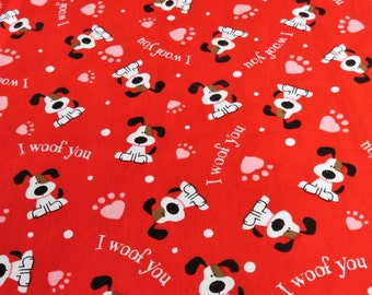 I Woof You - Valentine Red Dog Puppy Fabric Material - By the Half Yard - Valentine's Day