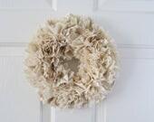 "Burlap and Muslin Rag Wreath Rustic Decor Round 10"""