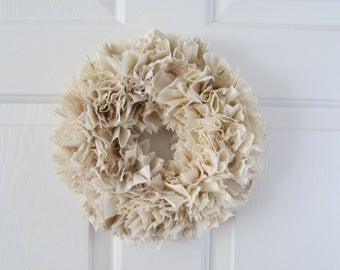 Burlap and Muslin Rag Wreath Rustic Decor Round 10""