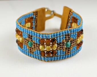 Beaded Boho Bracelet in Turquosie, Cream and Brown Geometric Design - Loomed Statement Jewelry