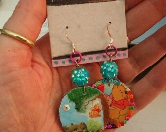 Winnie the Pooh Collage Earrings A Good Friend Handmade Dangles Mismatched OOAK Assemblage