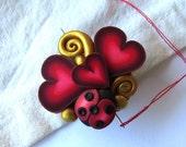 Love Bug Valentine Needle Minder, Needle Nanny, Valentine's Day Magnetic Brooch
