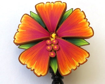 Tropical Orange Flower ID Badge Reel, Scissor Keeper, ID Lanyard, Scissor Fob