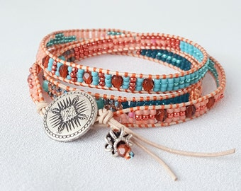 It's a Wrap - Coral, Turquoise and Teal Beadwoven Bracelet