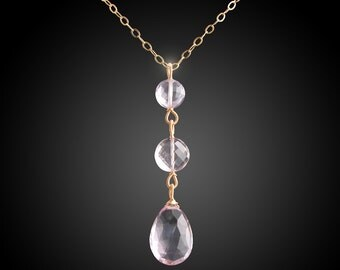 Tiered 14k Gold Pink Amethyst Necklace/Pendant