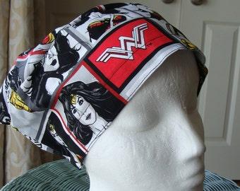 Wonder Woman Sprite  Style..................Surgical Scrub Hat...Chemo Hat...Chefs Hat