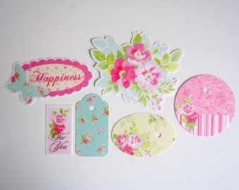 Card making, scrapbook, journal supplies, paper tag embellishments, gift tags. Flowers/ floral/ Spring/ pastels. Gift for crafters.