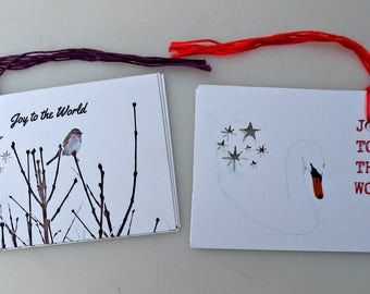 JOY To The World set of 8 Gift tags, stationary, greeting, birds, nature, Christmas, New Year