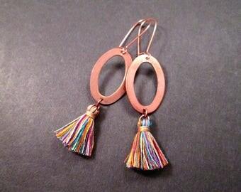 Tassel Earrings, Rainbow Cotton Tassels and Rose Gold Pendants, Long Dangle Earrings, FREE Shipping U.S.