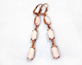 White Moonstone Earrings, Brass Dangle Earrings, Glass Drop Earrings, FREE Shipping U.S.