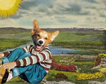 Pet Artwork, Animal Wall Decor, Original Collage, Happy Puppy Wall Art, Corgi Dog Art, Cute Animal Face, Fun Wall Decor