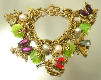 Estate/ vintage 1980s signed Art, gold tone, rhinestone and freshwater pearl, insect bug costume bracelet - jewelry jewellery