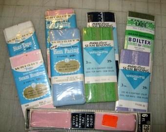 Vintage Seam Binding, Hem Facing,Bias Tape and Ribbon