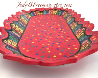 Ceramic Oval Perfume Tray Rainbow Striped Polka Dotted Stoneware on Red Made to Order PL00015
