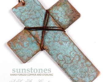 Hand Forged Rustic Copper Cross Pendant Component PN422