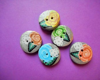 Buttons, Polymer Clay, Round, Set of Five