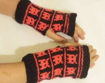 Knit Fingerless Mittens (Little Monsters) - Neon Coral and Black