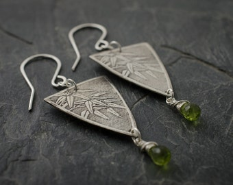 Bamboo Earrings. Peridot Faceted Silver Earrings. August Birthstone. Birthstone Jewelry. Bamboo Pattern. Pennant Earrings.